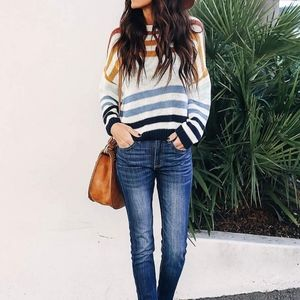 New Rainbow striped color block baggy sweater